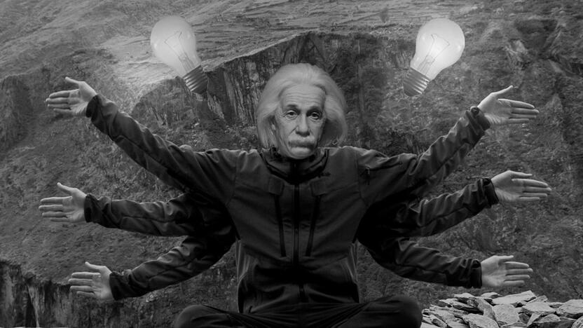 Einstein sechsarmig Glühbirnen Meditation [Quelle: e-fellows.net]