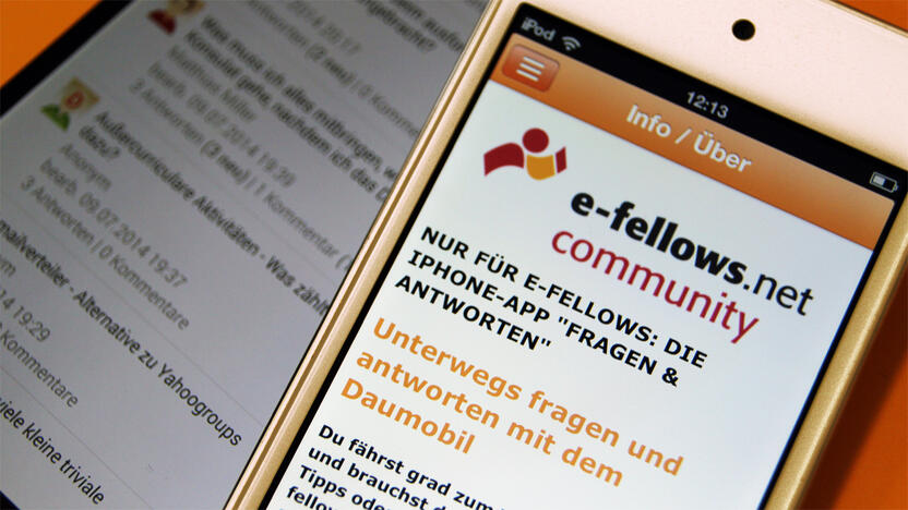 App, Smartphone, iPod, Community, Fragen, Antworten [Quelle: e-fellows.net]
