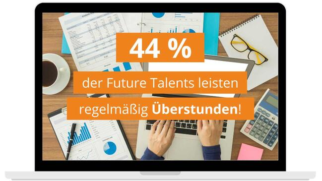 Geleistete Überstunden [Quelle: Future Talents Report, Canva, e-fellows.net]