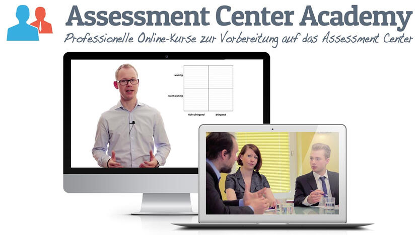Online Kurs Bewerbung Laptop Computerbildschirm [Quelle: Assessment Center Academy]