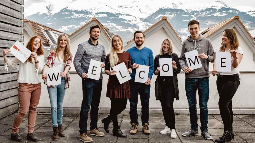 Studenten der Uni Liechtenstein Welcome [Quelle: Uni Liechtenstein]