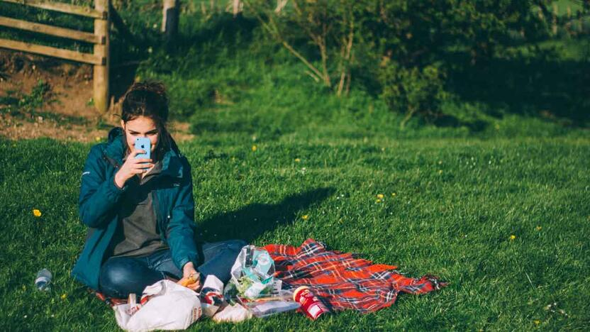 Picknick Frau Facetime Handy [Quelle: unsplash.com, Autor: Luke Porter]