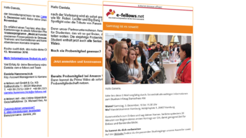 e-fellows net Trainee Direct Mailing [Quelle: e-fellows.net]