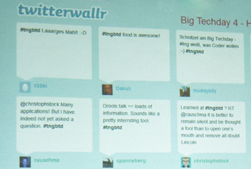 Twitterwall Big Techday [Quelle: TNG] 355px × 240px