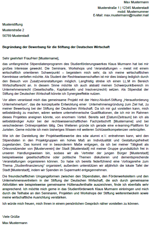 Motivationsschreiben deutschlandstipendium bwl ghostwriting co to jest